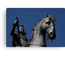 Pigeon atop Philip III atop horse, Plaza Mayor, Madrid Canvas Print
