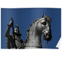 Pigeon atop Philip III atop horse, Plaza Mayor, Madrid Poster