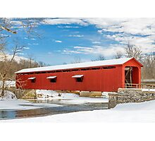 Snowy Red Covered Bridge Photographic Print