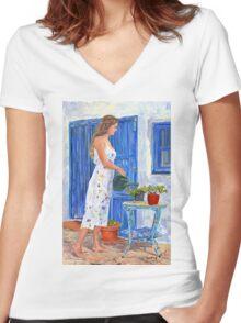 La Jardinera Women's Fitted V-Neck T-Shirt