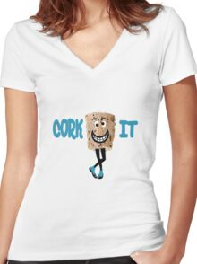 CORKY Women's Fitted V-Neck T-Shirt