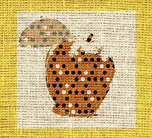 Apple Fine Art on Burlap Linen Jute by Nhan Ngo