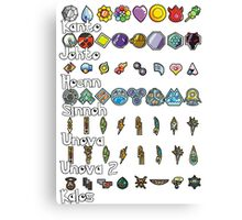 Pokemon Badges Canvas Print
