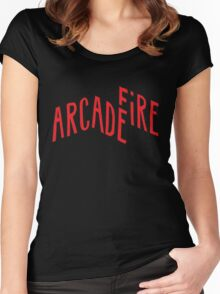 """Red Logo"" of Arcade Fire Women's Fitted Scoop T-Shirt"