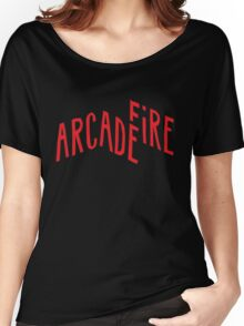 """Red Logo"" of Arcade Fire Women's Relaxed Fit T-Shirt"