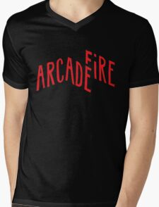 """Red Logo"" of Arcade Fire Mens V-Neck T-Shirt"