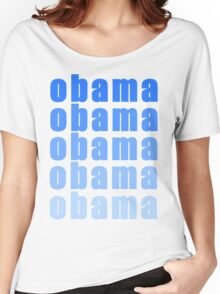 Obama!  Blue Font  Women's Relaxed Fit T-Shirt