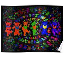 Dancing Bears Grateful Dead Psychedelic Design Poster
