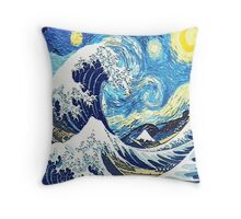 Starry Night Blue Art Painting Throw Pillow