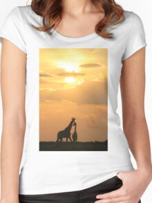 Giraffe Silhouette - Golden Beauty Women's Fitted Scoop T-Shirt