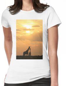 Giraffe Silhouette - Golden Beauty Womens Fitted T-Shirt