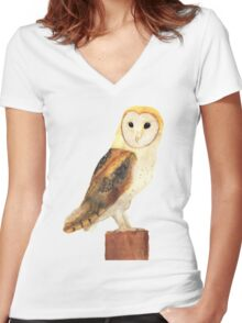 Watercolour Barn Owl Women's Fitted V-Neck T-Shirt