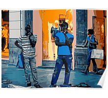 Street Vendors at Night - Madrid Poster