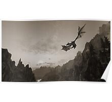 Skyrim dragon fly Poster