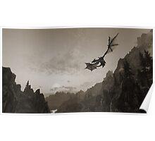 Skyrim dragon fly Poster