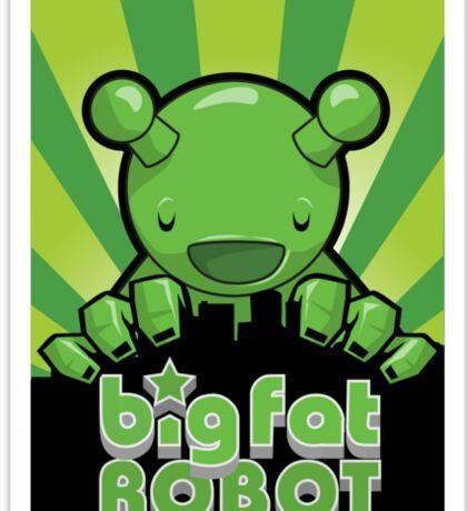 Big Fat Robot eats Melbourne - green with logo Sticker