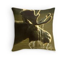 Moose Dipping His Head Into Water Throw Pillow