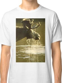 Moose Dipping His Head Into Water Classic T-Shirt
