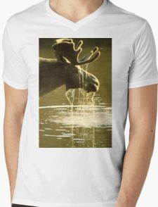 Moose Dipping His Head Into Water Mens V-Neck T-Shirt