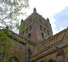 Cotswold Gloucestershire Tewkesbury Abbey Norman Architecture Clock Tower  by Martin Carr