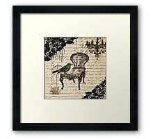 shabby chic vintage bird scripts french chair chandelier  Framed Print