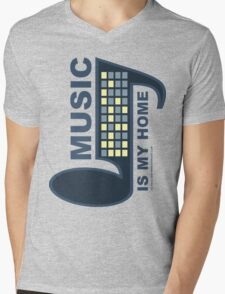 Music Is My Home Mens V-Neck T-Shirt