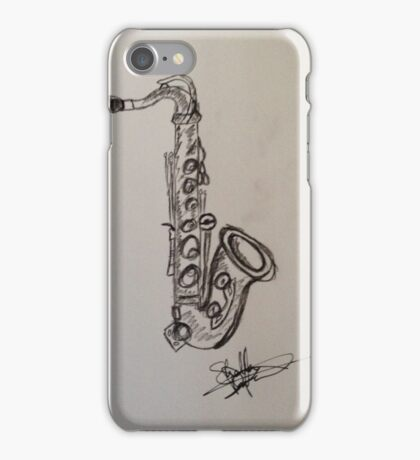 A saxophone in charcoal iPhone Case/Skin