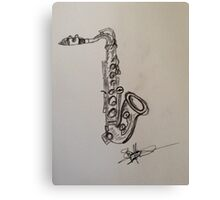 A saxophone in charcoal Canvas Print