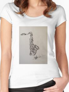 A saxophone in charcoal Women's Fitted Scoop T-Shirt