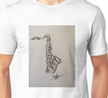 A saxophone in charcoal Unisex T-Shirt