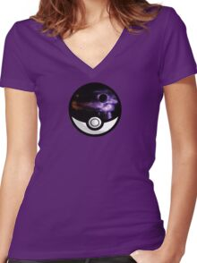 The World In A Pokeball Women's Fitted V-Neck T-Shirt