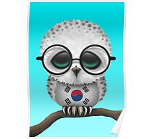 Nerdy South Korean Baby Owl on a Branch Poster