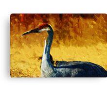 Sandhill Crane In Autumn Abstract Impressionism Canvas Print