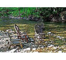 The Big Sur River Inn's Signiture Chairs Photographic Print