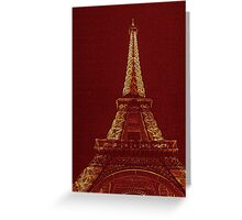 Eiffel Tower at Night-Red Greeting Card