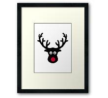 Reindeer face red nose Framed Print