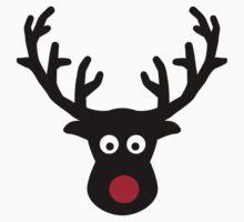 Reindeer face red nose Kids Tee