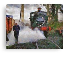 Engineer walking through steam from locomotive, East Somerset Railway, Shepton Mallet, UK Canvas Print