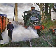 Engineer walking through steam from locomotive, East Somerset Railway, Shepton Mallet, UK Photographic Print