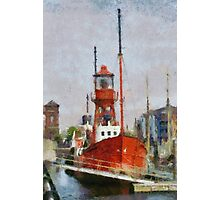 Lighthouse ship Helwick, Swansea, Wales in the style of Monet Photographic Print