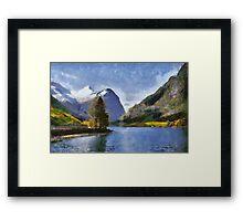 Briksdal glacier, Oldevatnet lake, Norway Framed Print