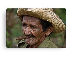 Cuban farmer and Cigar, Vinales, Cuba Canvas Print