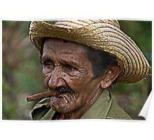 Cuban farmer and Cigar, Vinales, Cuba Poster
