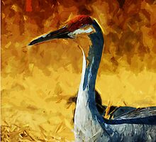 Sandhill Crane In Autumn Abstract Impressionism by pjwuebker