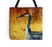 Sandhill Crane In Autumn Abstract Impressionism Tote Bag