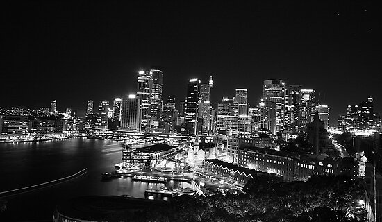 Sydney Nightlights BW by MiImages