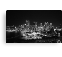 Sydney Nightlights BW Canvas Print