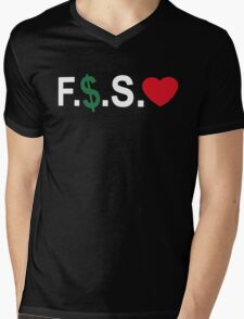 Fuck Money Spread Love [White] Mens V-Neck T-Shirt