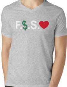 Fuck Money Spread Love [White] Mens V-Neck T-Shirt