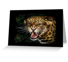 Snarling Leopard Drawing Greeting Card